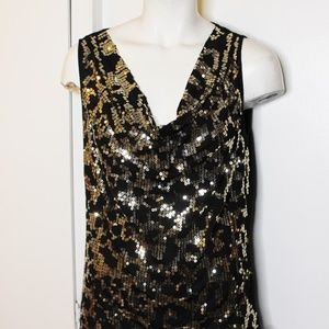 Michael Kors Black Gold Sequins Drape Tank Top M